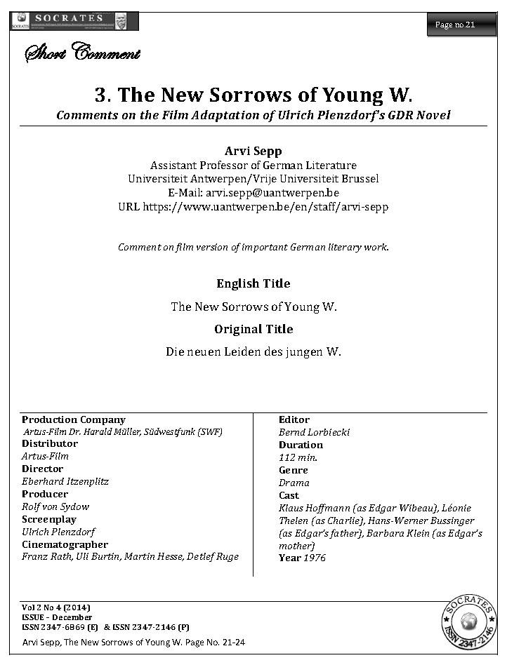 The New Sorrows of Young W. Comments on the Film Adaptation of Ulrich Plenzdorf's GDR Novel