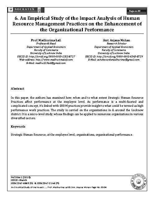 An Empirical Study of the Impact Analysis of Human Resource Management Practices on the Enhancement of the Organizational Performance
