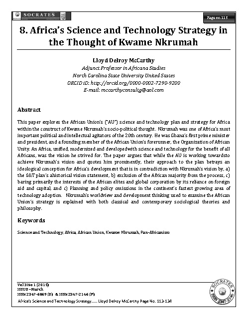 Africa's Science and Technology Strategy in the Thought of Kwame Nkrumah