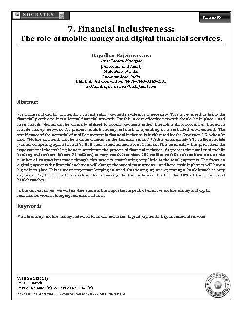 Financial Inclusiveness: The role of mobile money and digital financial services