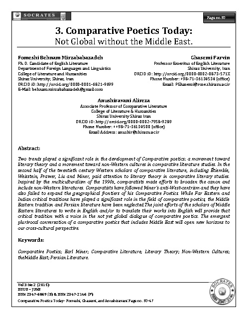 Comparative Poetics Today: Not Global without the Middle East