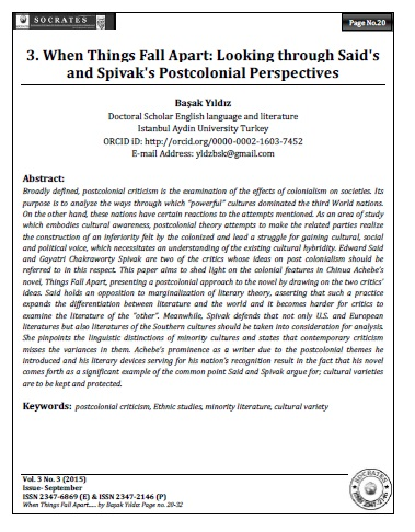 When Things Fall Apart: Looking through Said's and Spivak's Postcolonial Perspectives