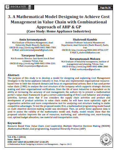 A Mathematical Model Designing to Achieve Cost Management in Value Chain with Combinational Approach of AHP & GP
