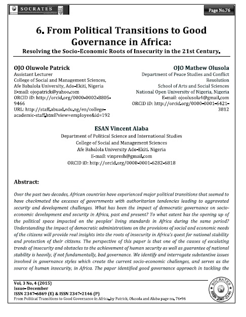 From Political Transitions to Good Governance in Africa:  Resolving the Socio-Economic Roots of Insecurity in the 21st Century