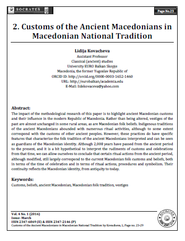 Customs of the Ancient Macedonians in Macedonian National Tradition