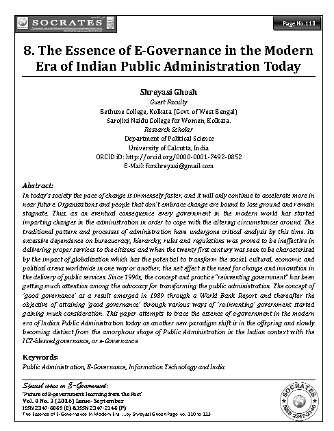 The Essence of E-Governance in the Modern Era of Indian Public Administration Today