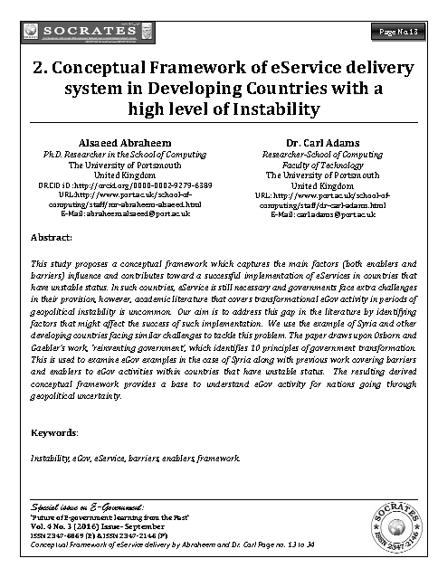 Conceptual Framework of eService delivery system in Developing Countries with a  high level of Instability