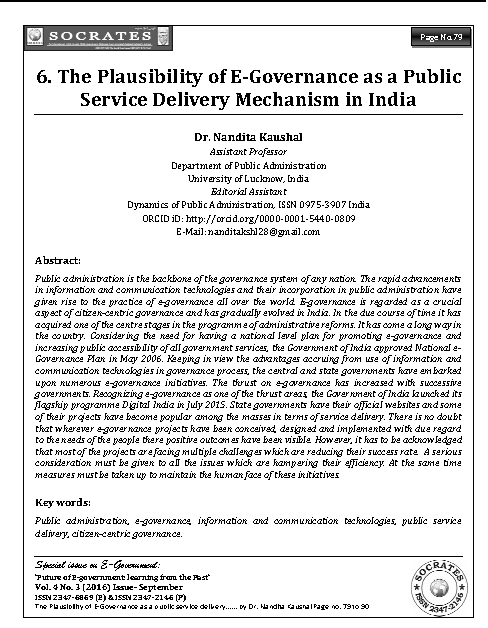 The Plausibility of E-Governance as a Public Service Delivery Mechanism in India
