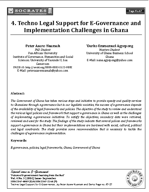 Techno Legal Support for E-Governance and Implementation Challenges in Ghana