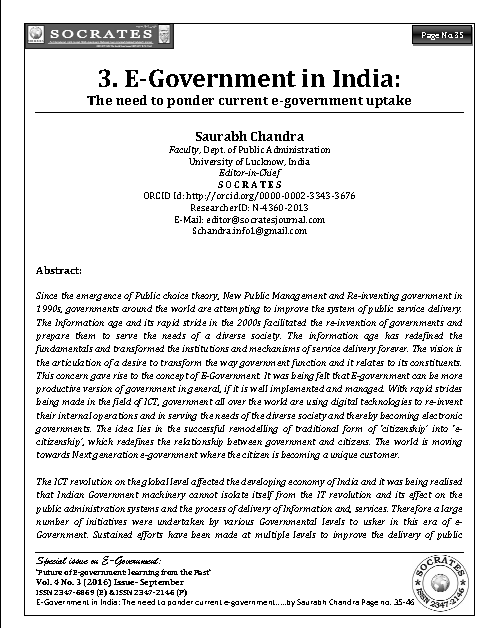 E-Government in India: The need to study current e-government uptake