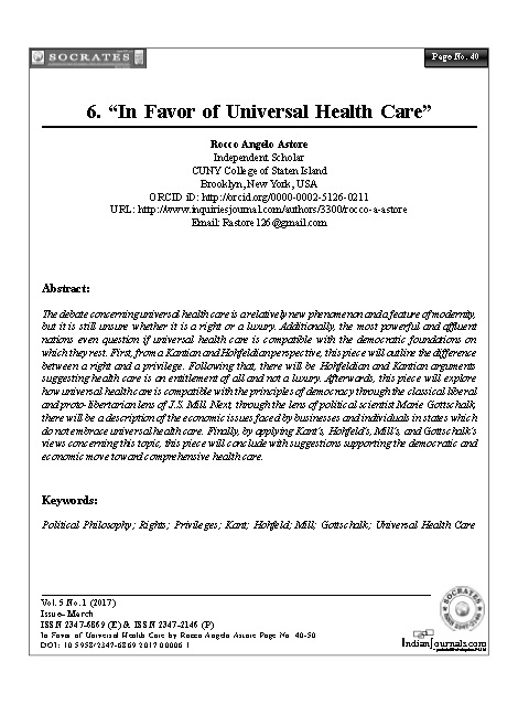 """In Favor of Universal Health Care"""
