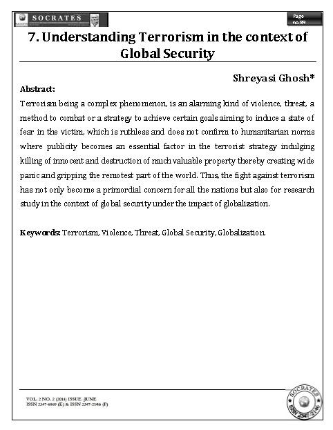 Understanding Terrorism in the context of Global Security