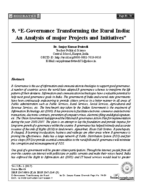 """E- Governance Transforming the Rural India:  An Analysis of major Projects and Initiatives"""