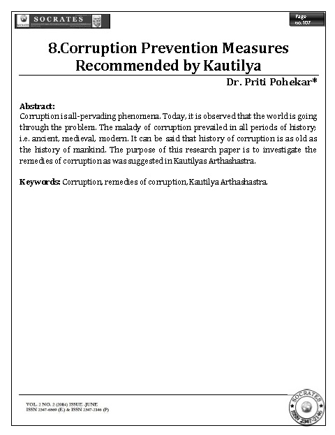 Corruption Prevention Measures Recommended by Kautilya