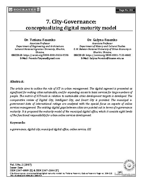 City-Governance:  conceptualizing digital maturity model