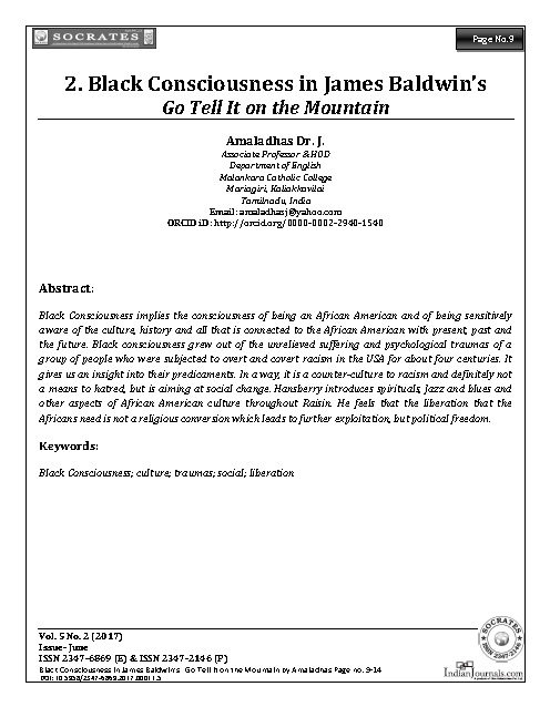 Black Consciousness in James Baldwin's Go Tell It on the Mountain
