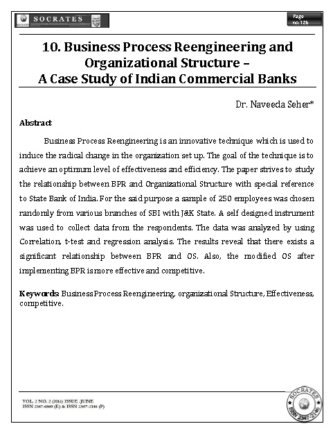 Business Process Reengineering and Organizational Structure – A Case Study of Indian Commercial Banks