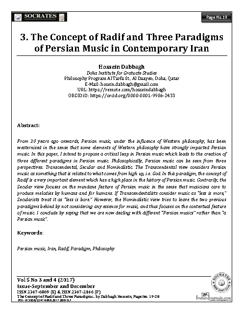 The Concept of Radif and Three Paradigms of Persian Music in Contemporary Iran