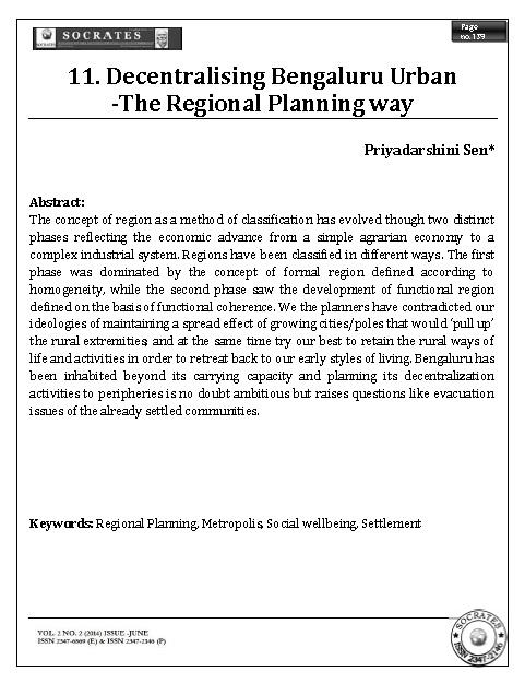 Decentralising Bengaluru Urban -The Regional Planning way