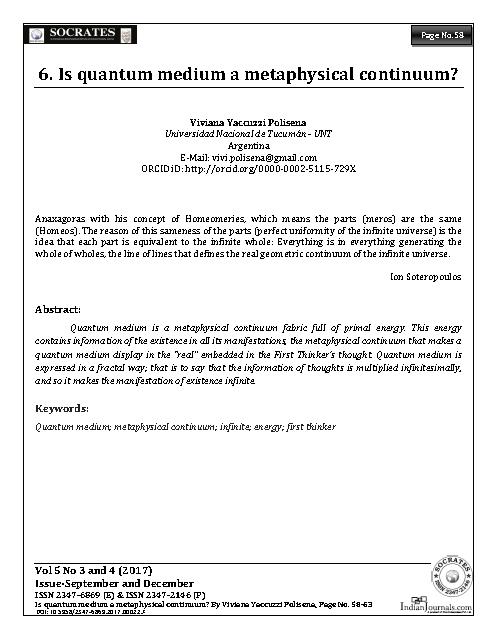 Is quantum medium a metaphysical continuum?
