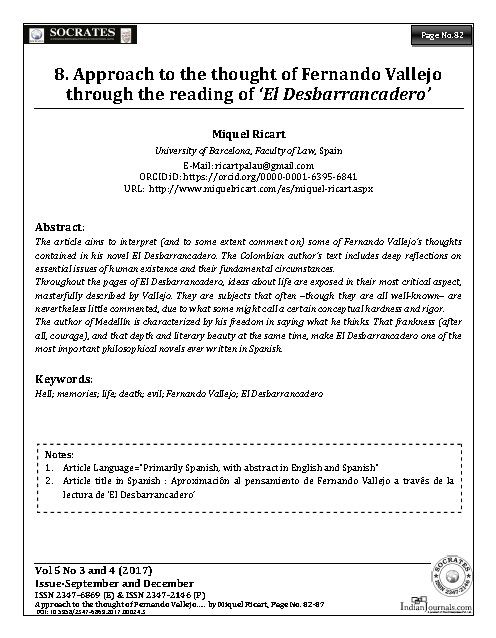 Approach to the thought of Fernando Vallejo through the reading of 'El Desbarrancadero'