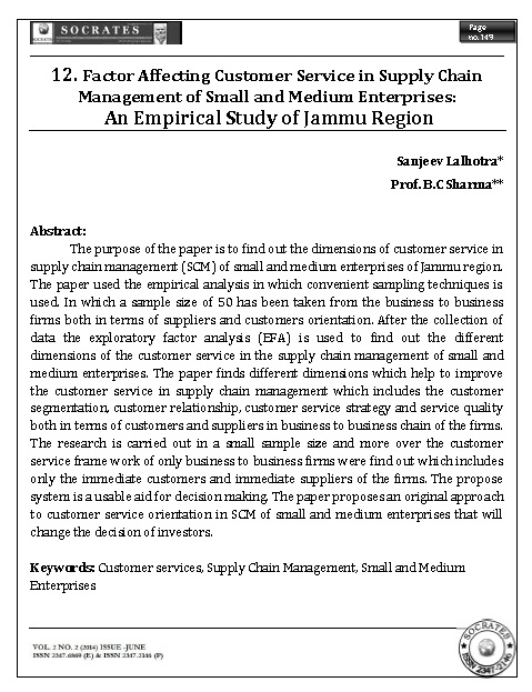 Factor Affecting Customer Service in Supply Chain Management of Small and Medium Enterprises: An Empirical Study of Jammu Region