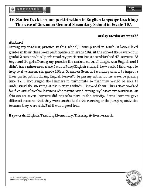 Student's classroom participation in English language teaching: The case of Gozamen General Secondary School in Grade 10A