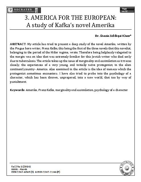 AMERICA FOR THE EUROPEAN: A study of Kafka's novel Amerika