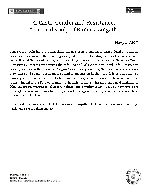 Caste, Gender and Resistance: A Critical Study of Bama's Sangathi