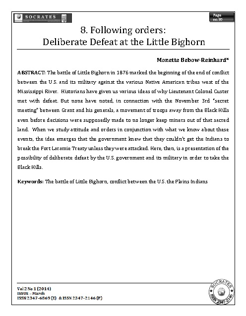Following orders: Deliberate Defeat at the Little Bighorn