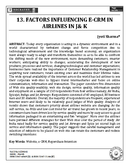 FACTORS INFLUENCING E-CRM IN AIRLINES IN J& K