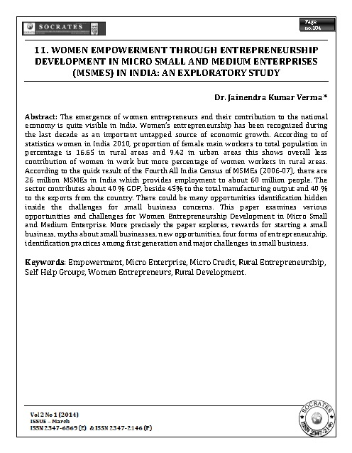WOMEN EMPOWERMENT THROUGH ENTREPRENEURSHIP DEVELOPMENT IN MICRO SMALL AND MEDIUM ENTERPRISES (MSMES) IN INDIA: AN EXPLORATORY STUDY