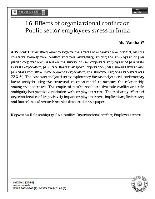 Effects of organizational conflict on Public sector employees stress in India