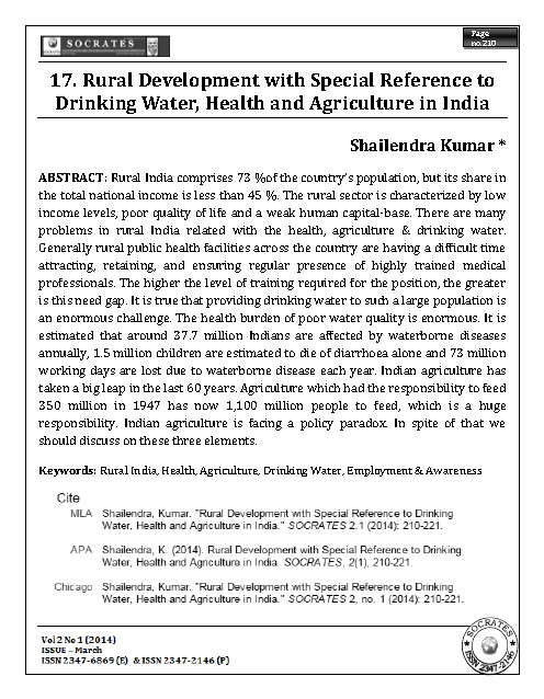 Rural Development with Special Reference to Drinking Water, Health and Agriculture in India