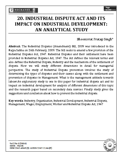 INDUSTRIAL DISPUTE ACT AND ITS IMPACT ON INDUSTRIAL DEVELOPMENT: AN ANALYTICAL STUDY