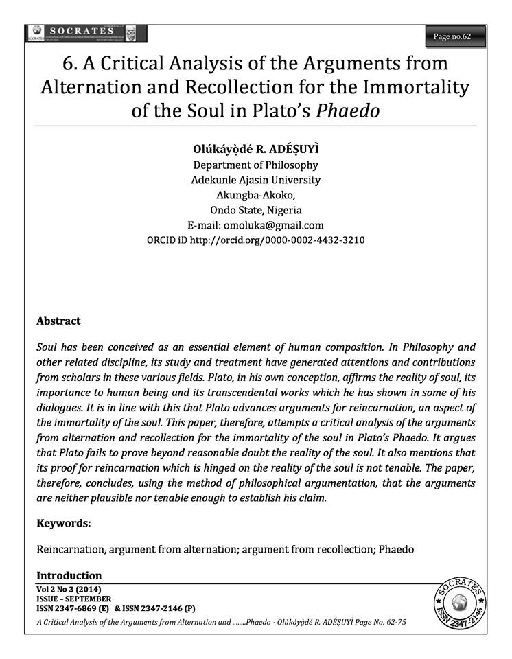 A Critical Analysis of the Arguments from Alternation and Recollection for the Immortality of the Soul in Plato's Phaedo